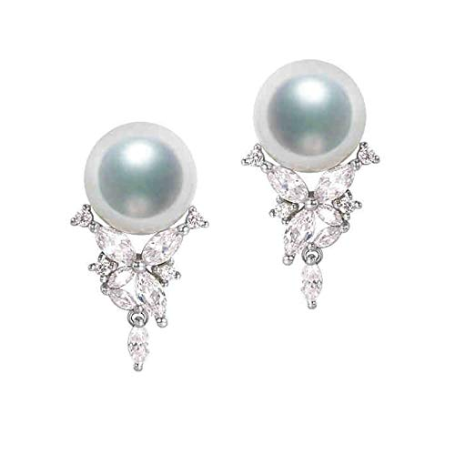 KnSam 18K Oro Blanco Pendiente, Arete Flor Mariposa con Perla Diamante Blanco, Perla Blanco, Color Oro Blanco