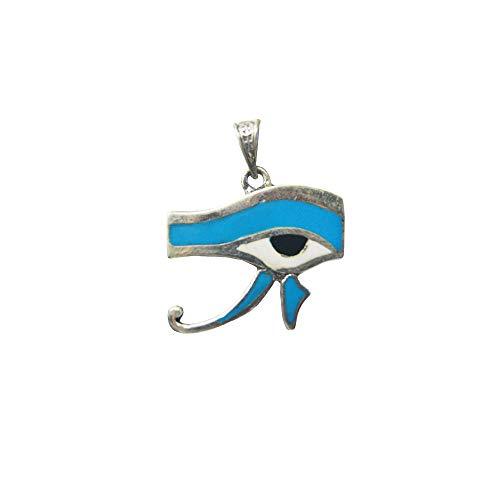 Ojo de Horus Colgante de Plata 925 con Turquesa, Hecho a Mano en Egipto. Amuleto Protector con la envidia y el Mal de Ojo. Mide de Ancho 3 cm y Largo 3,5 cm Aproximadamente