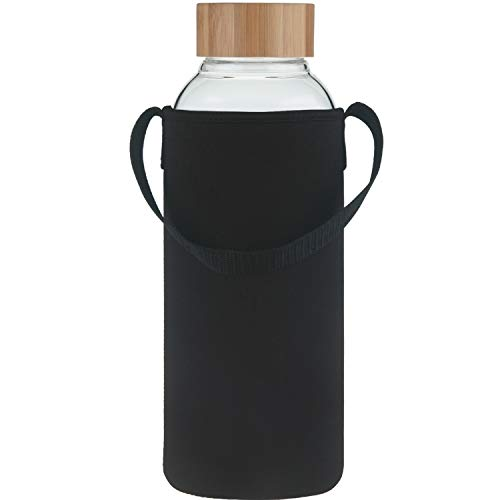Ferexer 48 oz Sports Borosilicate Glass Water Bottle with Bamboo Lid with Neoprene Sleeve