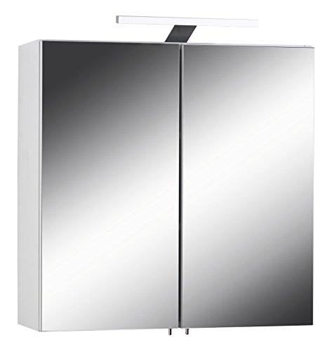 Homexperts spiegelkast SLEEK 03 / elegante badkamerkast met spiegel 60cm / met warmtint LED-verlichting & stopcontact/wit/softclose-functie en geïntegreerd stopcontact / 21x60x60 cm (D x B x H)