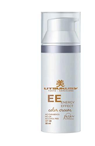 EE Cream mit LSF 50-50ml von Utsukusy. Sehr ergiebige, getönte Tagescreme vereint Make-up, Gesichtspflege (Hyaluron) u. Sonnenschutz (Lichtschutzfaktor 50) für trockene, fettige u. empfindliche Haut