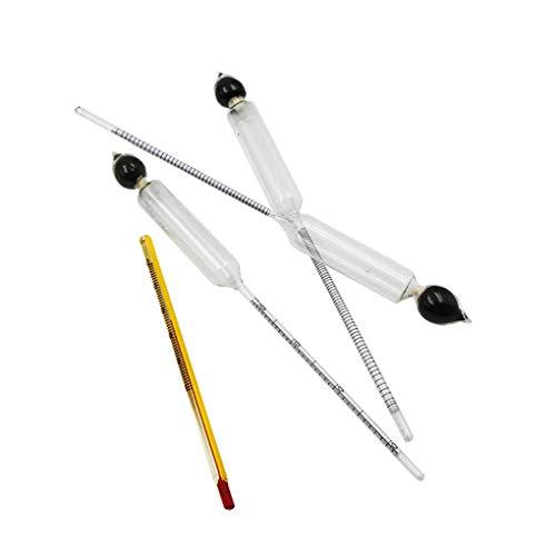 Hotaluyt 3pcs 0-100% Aräometer Alkoholmeter Tester Set Alkohol Alkohol-Konzentration Meter Thermometer