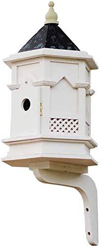 Equipo de Vida Pajareras Pájaros pequeños Carboneros Gorriones Fuera de la casa de pájaros de Madera Ventilación Caja de Nido de pájaro Colgante (Color: Natural Tamaño: 25.5x28x60CM)