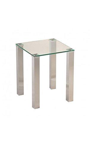 CAMINO A CASA - Table d'appoint 40 x 40 cm Verre et Chrome Tower