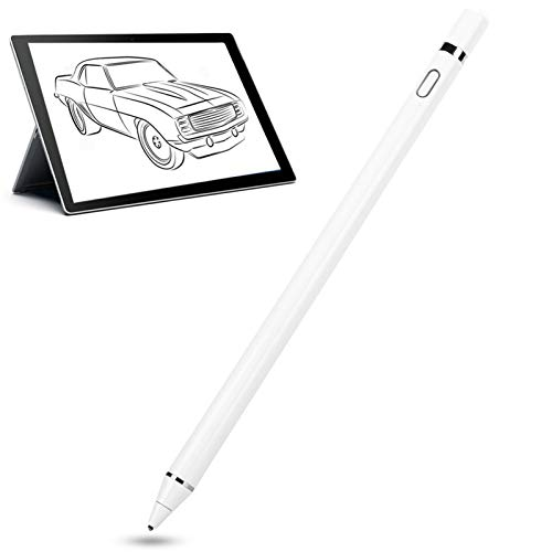 Lazmin112 Active Stylus Pen, White Touch Screen Digital Active Capacitive Stylus, USB Rechargeable, Compatible with for iOS/Android/Microsoft Mobile Phones and Tablets