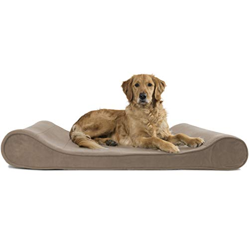 Furhaven Pet Dog Bed - Orthopedic Micro Velvet Ergonomic Luxe Lounger Cradle Mattress Contour Pet Bed with Removable Cover for Dogs and Cats, Clay, Jumbo