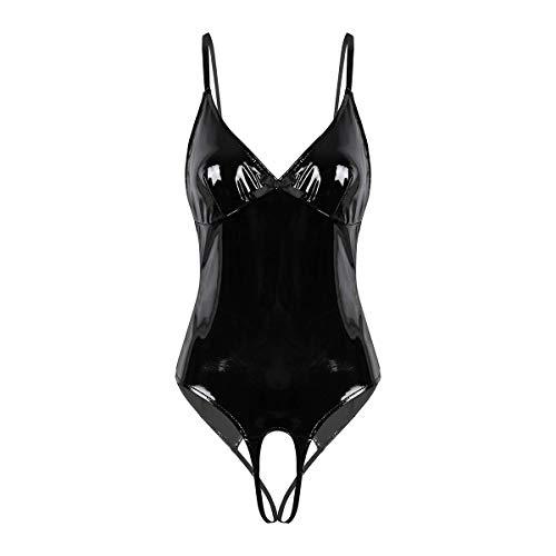 Noir Handmade-calda LUCIDO VERNICE BODY a 3 vie zip nero-s-3xl