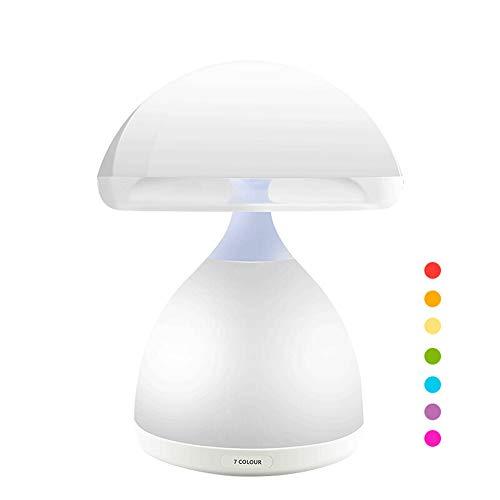 FREELT - Luz nocturna LED para niños, lámpara de seta, panel táctil, 6 colores diferentes, lámpara de mesita de noche, 1800 mA, USB recargable, 4000 K