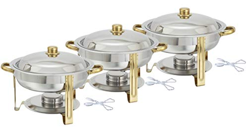 Tiger Chef Chafing Dish Buffet Set - Chafers and Buffet Warmers Sets - 4 Quart Food Warmer with Gold Accents - 3 Sets
