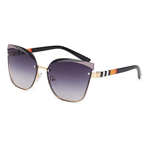 Powzz ornament Gafas de sol de lujo con rayas sin marco de ojo de gato, gafas de sol de moda para hombres y mujeres, gafas sin montura vintage, gafas graduadas UV400 Eyewear-1_Universal