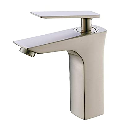 VALISY Modern Stainless Steel Single Handle Lever One Hole Brushed Nickel Bathroom Sink Faucet, Bath Lavatory Vanity Faucets Set for Farmhouse Bathroom Sinks with Hot & Cold Water Supply Lines