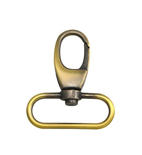 Wuuycoky - Anillo ovalado brillante de latón envejecido con hebilla, cierre de mosquetón, ganchos giratorios, Aleación de cinc, LEN:2.1',oval ring inner Diam:1.5',6Pcs