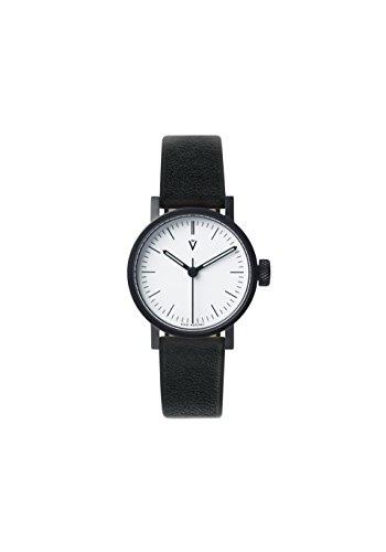 V03P Petite Small Analog Watch by VOID Watches (Style: Schwarzes Gehäuse & weisses Zifferblatt / Leder-Armband Schwarz