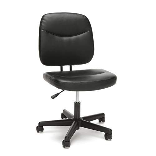 OFM Essentials Collection Armless Leather Desk Chair, in Black...