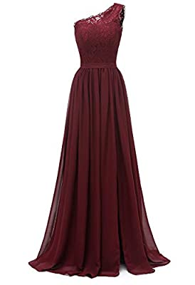 Molisa Women's One Shoulder Chiffon Bridesmaid Dresses Long Slit Lace Prom Evening Formal Gowns Burgundy Size 8