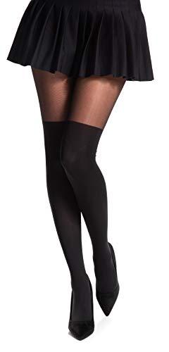 Romartex Damen Strumpfhose mit Overknees Muster 20/60 DEN, L, schwarz
