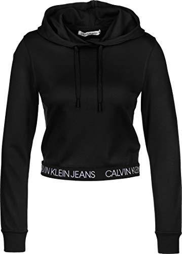 Calvin Klein Jeans Damen Logo Elastic Milano Hoodie Pullover, Ck Black, M