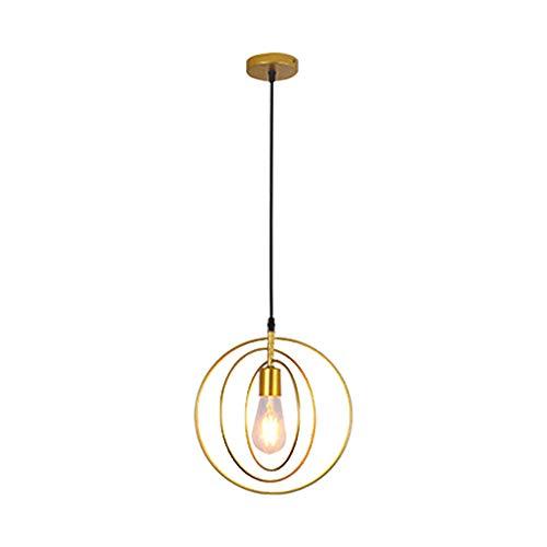 Moderne Vintage Pendelleuchte, Industrielampe E27 Lampenfassung aus Metall mit fünf Sternen/rund mit Lampenschirm für Wohnzimmer Oro Tondo