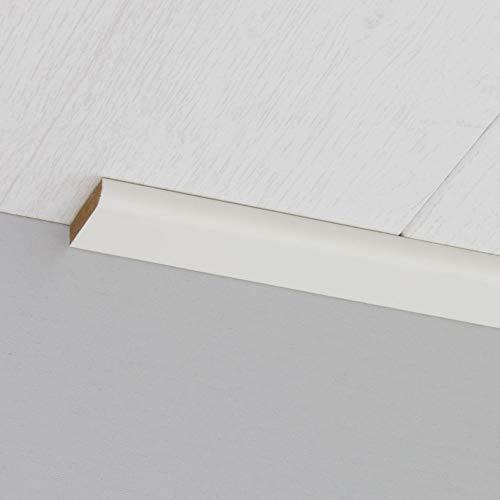 Abdeckleiste Abschlussleiste Sockelleiste Rundprofil aus MDF in Schleiflack weiß 2600 x 6 x 25 mm