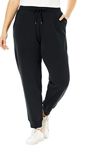 Woman Within Women's Plus Size Petite Better Fleece Jogger Sweatpant - L, Black