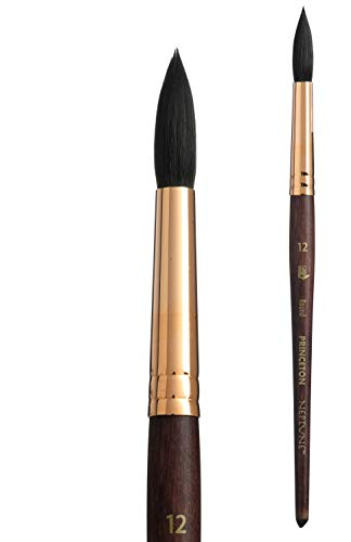 Princeton Artist Brush, Neptune Series 4750, Synthetic Squirrel Watercolor Paint Brush, Round, Size 12