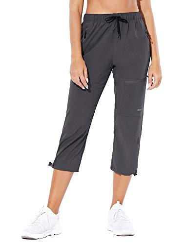 BALEAF Women's Hiking Cargo Capris Outdoor Lightweight Water Resistant Pants UPF 50 Zipper Pockets Deep Gray Size L