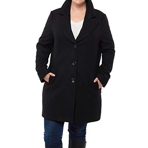 Alpine Swiss Alice Womens Plus Size Wool Overcoat Classic Notch Lapel Walking Coat BLK 2XL