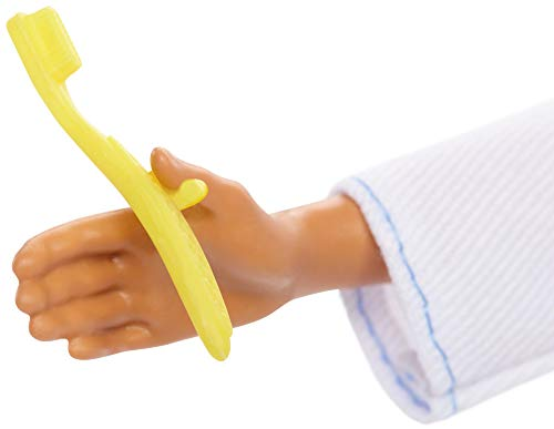 Barbie Ken Dentist Doll, Brunette, Wearing Professional Dental Coat, 2 Dental Toothbrush and Toothpaste Accessories