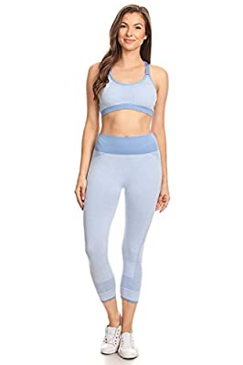 Women's Two Pieces Outfit - Yoga Pant & Bra Set - Active Casual - 3 Colors