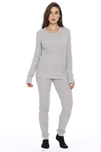 95862-Grey-M Just Love Women's Thermal Underwear Pajamas Set Base Layer Thermals