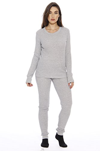Just Love 95862-Grey-L Women's Thermal Underwear Pajamas Set Base Layer Thermals