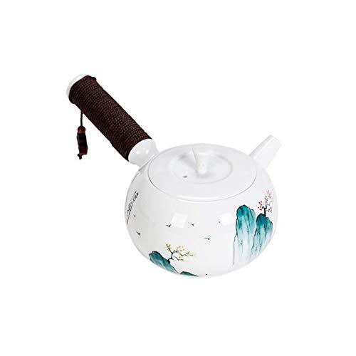 Tetera de cerámica tradicional hecha a mano con mango largo – A20