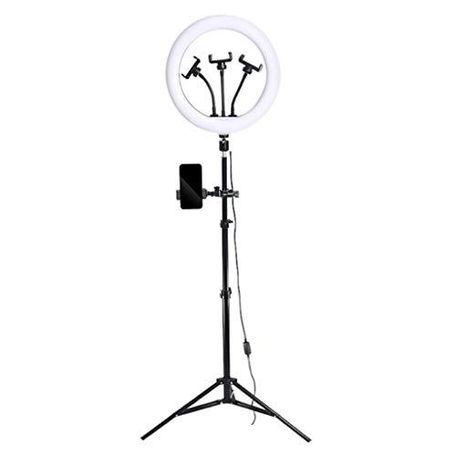 WYHM Escritorio Luz de Anillo de Selfie LED 13', Trípode Portátil con Anillo de Cámara 4 Tenedor de Teléfono Celular, 3 Temperatura de Color Ajustable para Fotografía/Maquillaje Universal