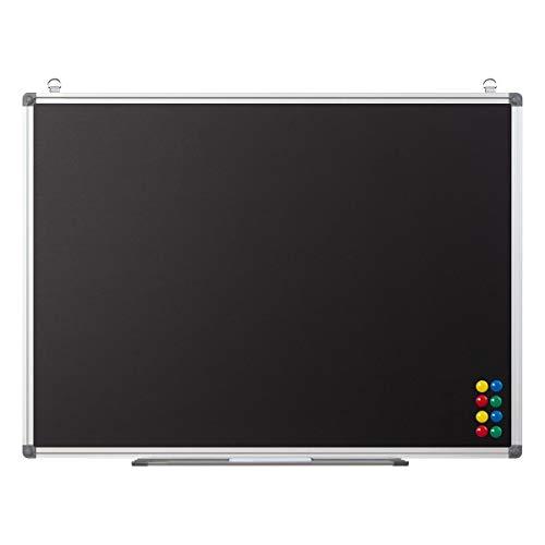 Magnetische Kreidetafel zum Aufhängen - Wandtafel mit Ablage und Kreide-Marker - Blackboard Magnettafel Tafel für Kinder, Büro, Küche, 80x60 cm schwarz