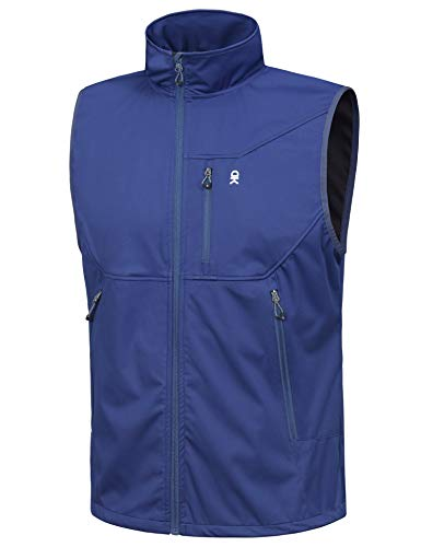 Little Donkey Andy Men's Lightweight Softshell Vest, Windproof Sleeveless Jacket for Travel Hiking Running Golf Blue L