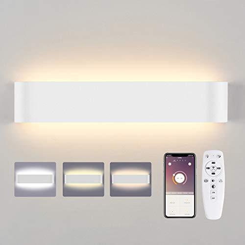 Lureshine Led Wandleuchte mit Fernbedienung & Bluetooth APP Smart Wandlapme 20W 2700K-6000K 1800LM Einstellbare Farbtemperatur und Helligkeit Maximaler Fernbedienungsabstand 8M (Weiß)