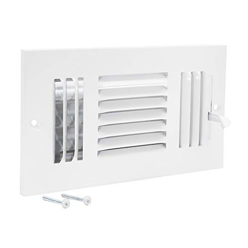 EZ-FLO 61658, White Three-Way Sidewall/Ceiling Register, 8 inch (W) x 4 inch (H) Opening, 8