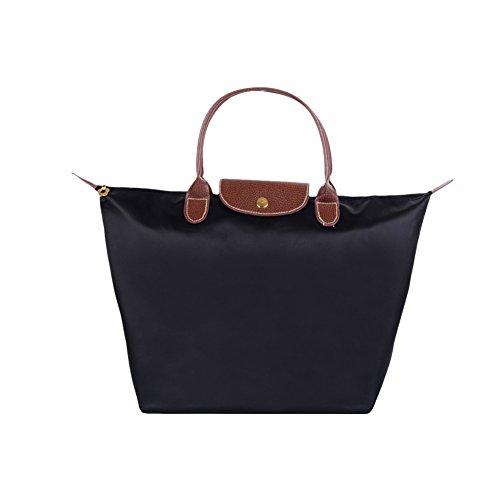 Fletion Nylon Wasserdichte Damen Handtasche Schulterhandtaschen Schulter Faltbare Einkaufstüten Reisetasche, Schwarz,  Größe S, LxHxB:  30x23x12 cm, Grifflänge 10 cm