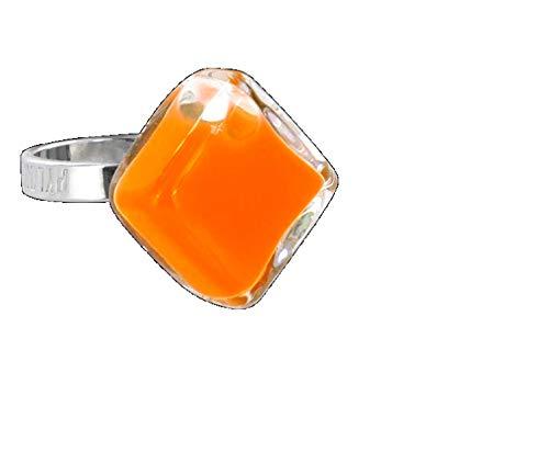 Señalización, anillo de cristal rombo Nano Milk naranja