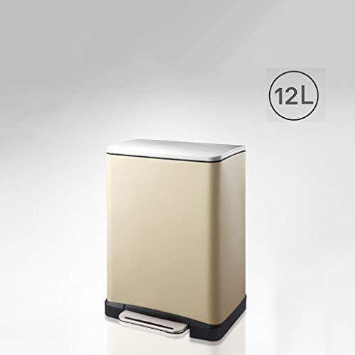 WEWE INOX Pédale Poubelles,avec Couvercle Et Seau intérieur Amovible Poubelle à pédale Approprié pour l'Usage dans la Salle de séjour Cuisine Salle de Bain-D 36.6x32x44.5cm(14x13x18inch)