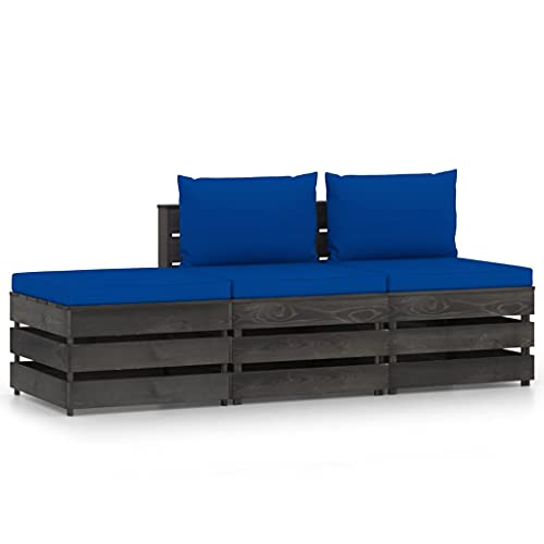 vidaXL Madera Impregnada Muebles de Jardín 3 Piezas con Cojines Mobiliario Patio Exterior Terraza Balcón Hogar Salón Mesa Silla Asiento Gris