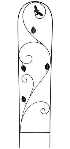 GeKi Trend Rankhilfe Rankgitter Eisen Metall schwarz 21 x 102 cm groß Libellen-Schmetterling