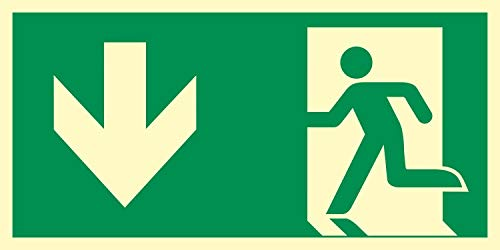 Rettungsweg Richtungspfeil Notausgang Rettungswegschild Schild Nachleuchtend ASR A1.3 400 x 200 mm