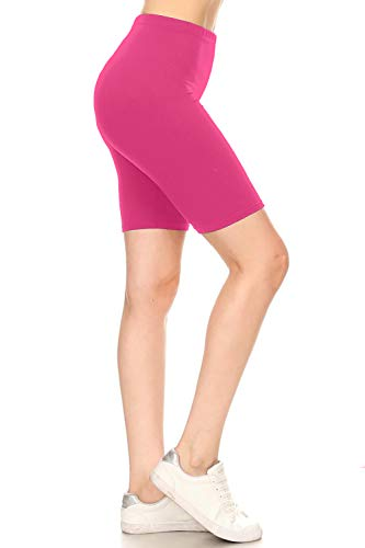 Leggings Depot LBK128-FUCHSIA-S High Waist Solid Biker Shorts, Small