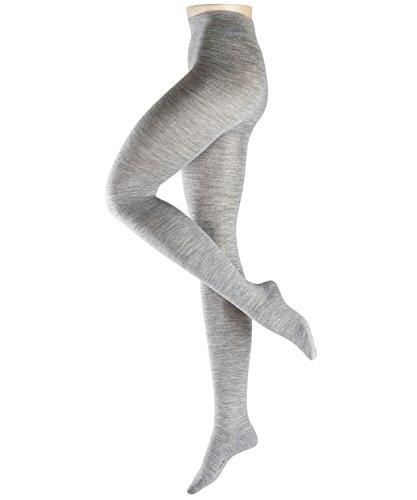 ESPRIT Damen Strumpfhosen Plain - Wollmischung, 1 Stück, Grau (Light Grey Melange 3390), Größe: M