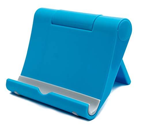 SYSTEM-S Soporte Plegable Ajustable en Azul para Tablet y Smartphone