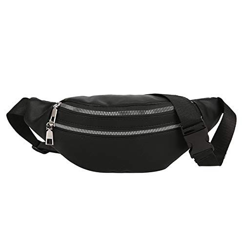 Banana Fanny Pack Women's Belt Bag Unisex Double Zipper Bags Crossbody Man Purse Waist Bag Chest Phone Pouch - black,a