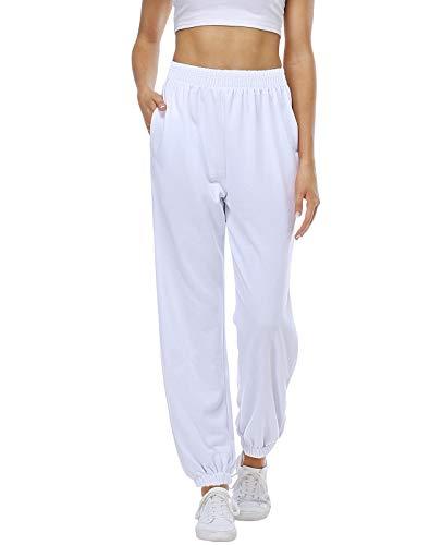 CYiNu Womens High Waisted Sweatpants Joggers Fall Winter Workout Yoga Pants with Pockets Cinch Bottom Trousers (White, S)