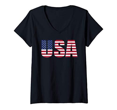 Mujer Bandera de estados unidos United States of America USA Flag Camiseta Cuello V
