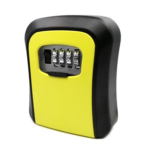 Caja fuerte para llaves al aire libre, caja de bloqueo de aleación de aluminio, combinación de 4 dígitos, caja fuerte para llaves de casa o oficina (tamaño: 116 x 94 x 38 mm; color: amarillo)